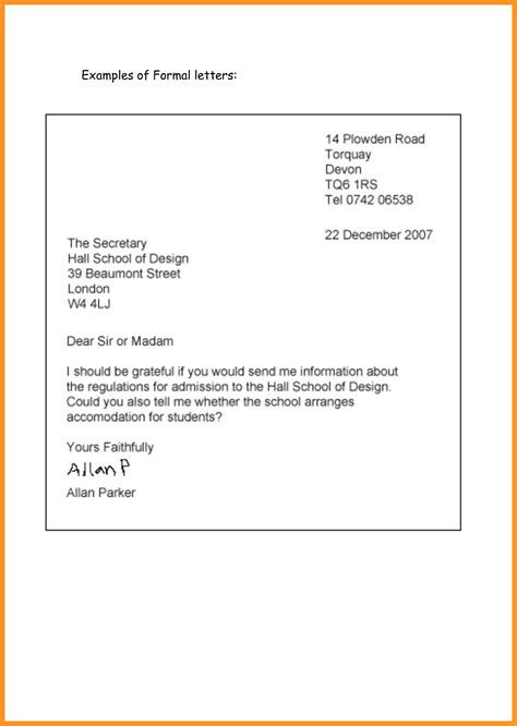 how to write a formal letter exle bio letter format