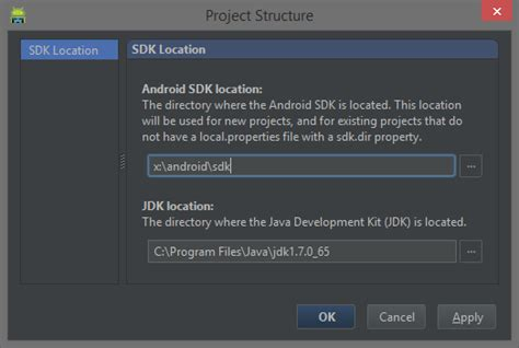 android studio sdk location starting android development on windows codeproject