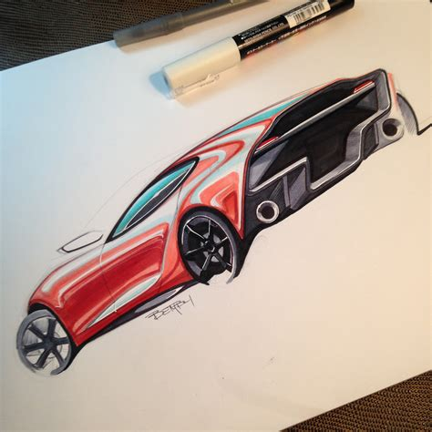 car with 9 steps to sketch a car with markers thesketchmonkey