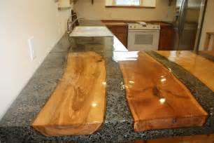 concrete countertop with split logs moulded in place diy