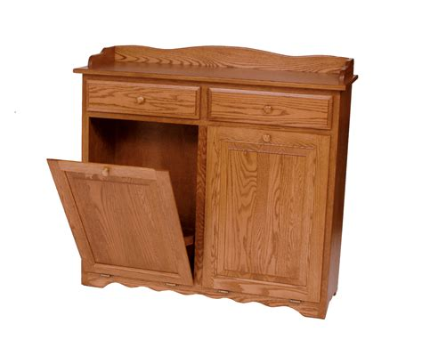 double trash recycling bin wood double trash bin with drawers amish valley products