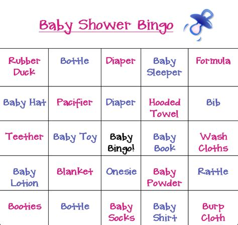 cool bingo baby shower games cards