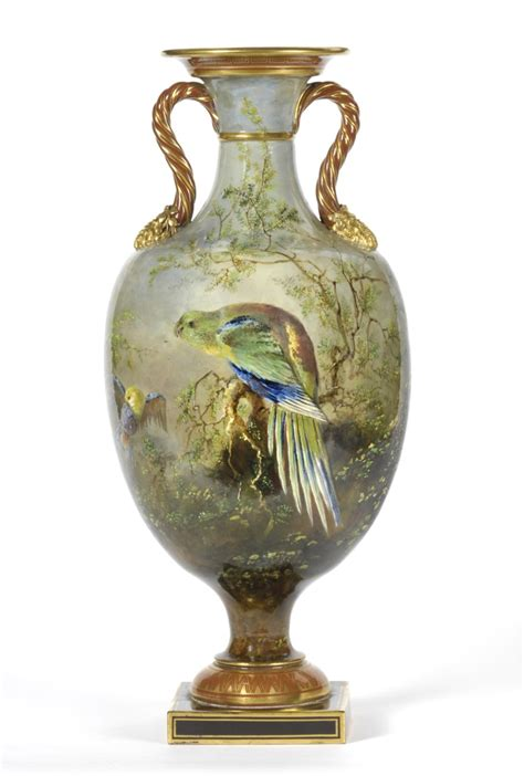 Minton Vase tennants auctioneers a minton pottery ornithological two handled pedestal vase
