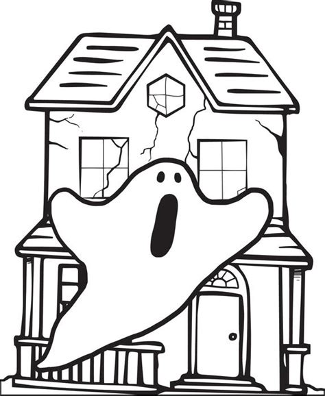 free printable haunted house coloring page for kids
