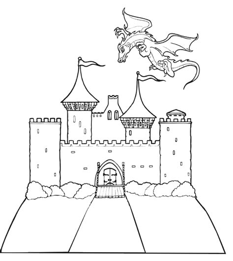 dragon coloring dragon flying castle website free printables