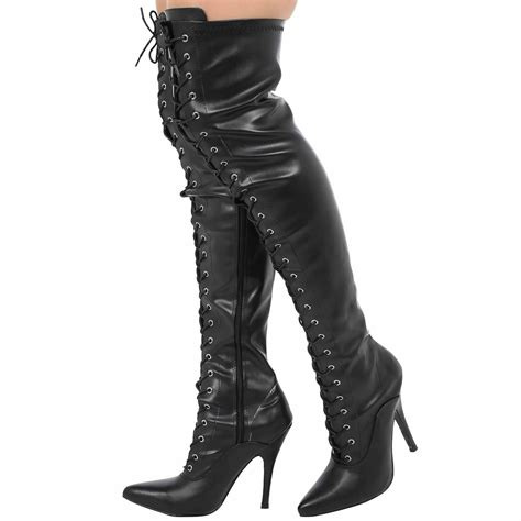mens high heels size 9 mens lace up knee thigh high stiletto heel