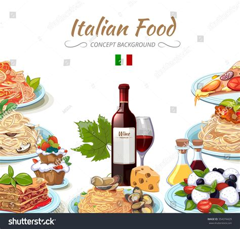 italian cuisine food background cooking lunch stock vector