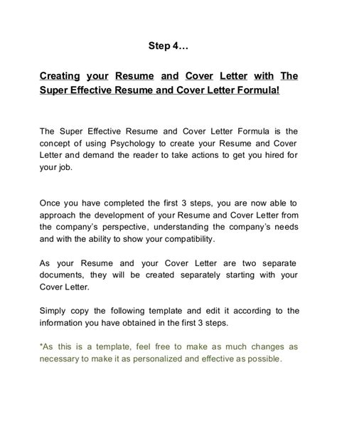 how to create an effective cover letter the effective resume and cover letter formula