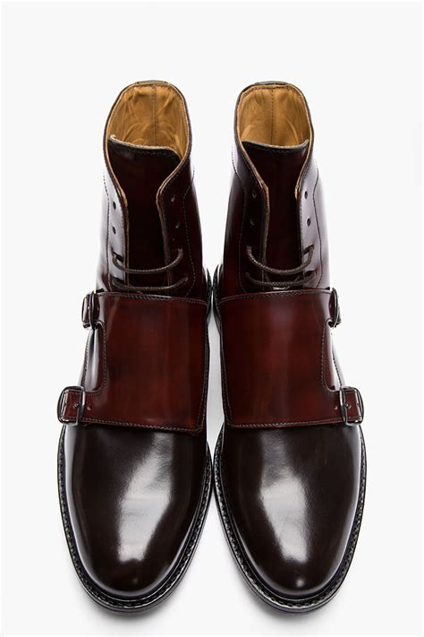 monk boots mens lyst carven mahogany two tone monk boots in brown