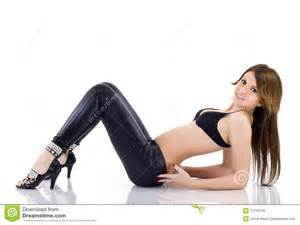 In black leather pants royalty free stock photos image 12759728