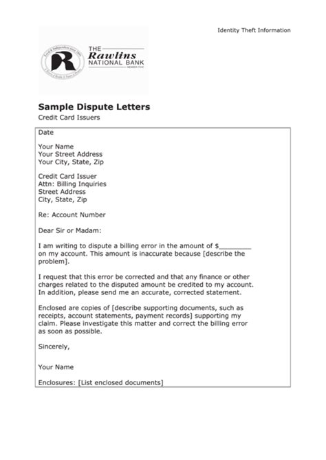 Sle Dispute Letter Template Credit Card Issuers Card Letter Template