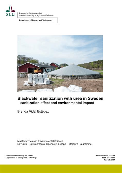 msc thesis advisor blackwater sanitization with urea in sweden sanitization