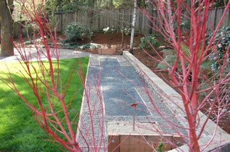 Landscape Timber Horseshoe Pit Landscaped Backyard With Horseshoe Pit