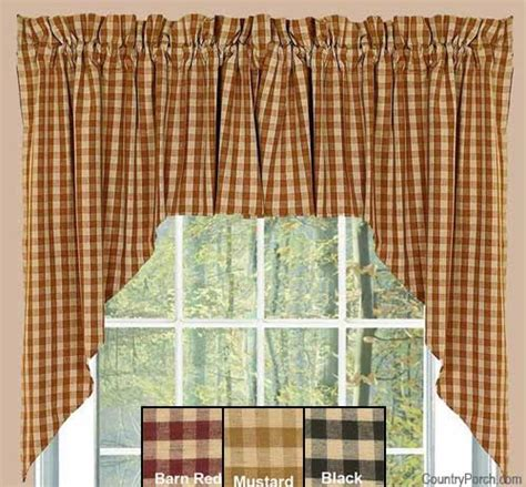 country house curtains heritage house check mustard window curtain swag