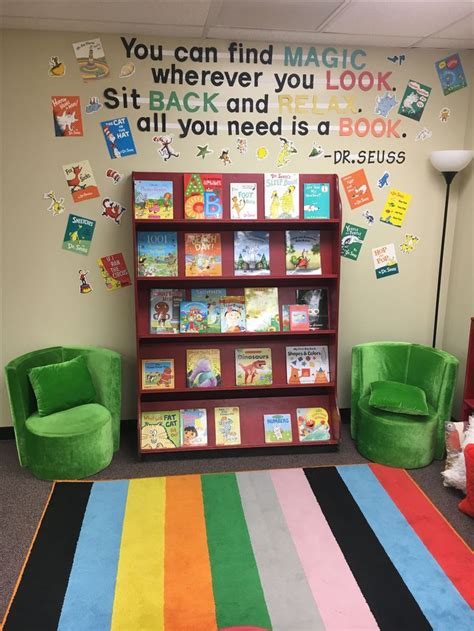 class reading corner dr seuss book display preschool