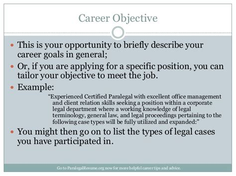 describe your career objectives how to create a paralegal resume that gets you noticed