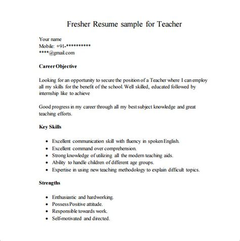 resume format for fresher teachers pdf resume template for fresher 10 free word excel pdf format free premium templates