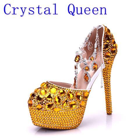 Wedges Murah Glitter Gold high heels prom wedding shoes platforms gold glitter rhinestone