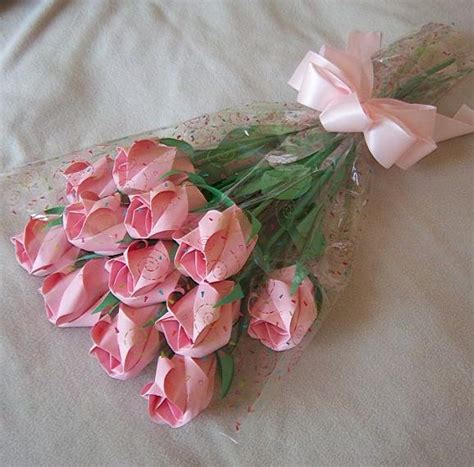 Bouquet Of Origami Roses - origami paper bud bouquet pink gift crafts