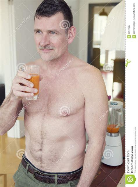 Detox Shirtless by Shirtless Glass Of Juice Stock Image