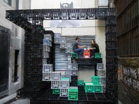 Playground for urban dwellers reuse of milk crates contemporary