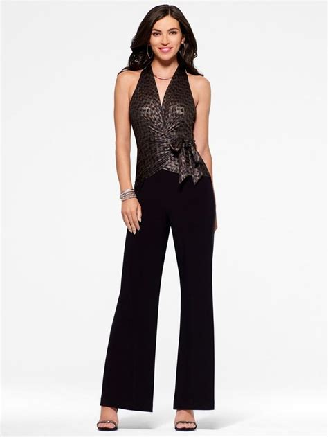 L Jumsuit details about cache nwt black metallic knit twofer