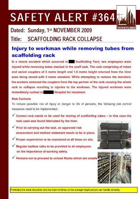 safety alert scaffolding rack collapse