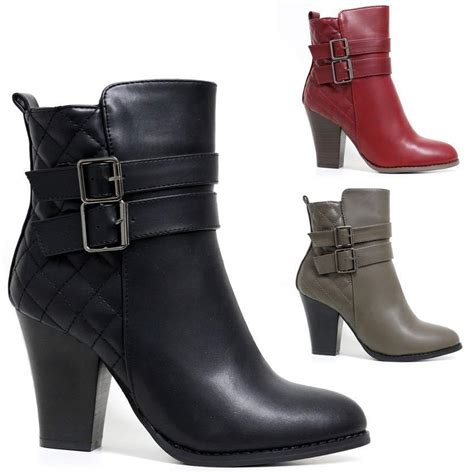 womens biker boots with heels womens mid block heel zip up combat ankle