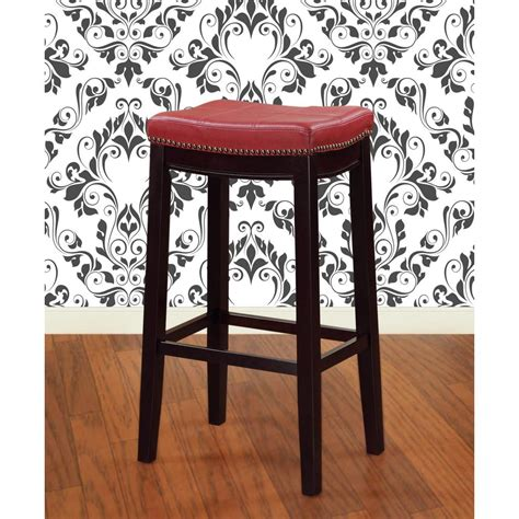 linon home decor claridge 24 in espresso and cushioned bar stool 55815red01u the