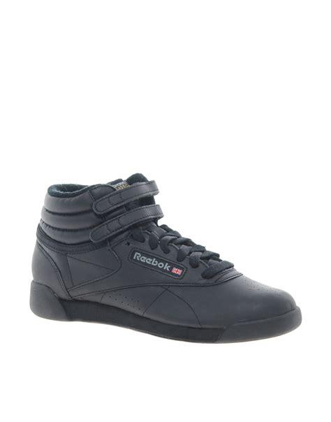 Reebok Free Style High Black reebok freestyle black high top sneakers in black lyst