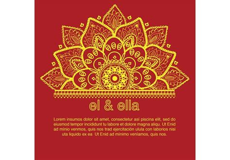 indian wedding card template free vector