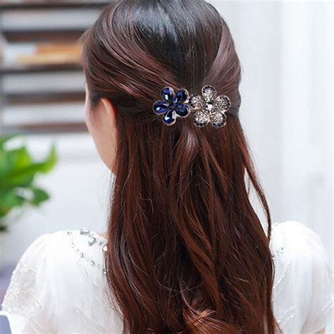 hair barrettes clips women crystal hairclips barrette hair accessories fashion women s crystal rhinestone flower metal hair pins
