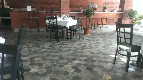 our hexagon granite pavers in a mixed color blend