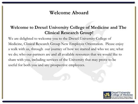 clinical research group new employee orientation