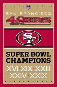 San francisco 49ers 5 time nfl super bowl champions commemorative wall