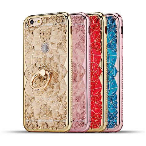 Iphone 7 Luxury Plating Flower Diamonds Soft Tpu Cover T1910 for apple iphone 7 6 3d plating glitter flowers soft tpu ring holder cover for