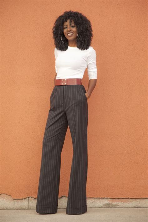Sleeve Pinstriped Shirt sleeve pinstriped highwaist wideleg trousers