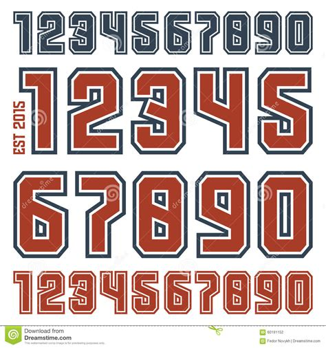 printable sports numbers sport numbers with contour stock vector illustration of
