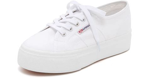 superga white platform sneakers superga 2790 acotw platform sneakers in white lyst