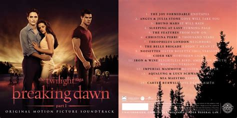 soundtrack list the twilight saga breaking part 1 soundtrack
