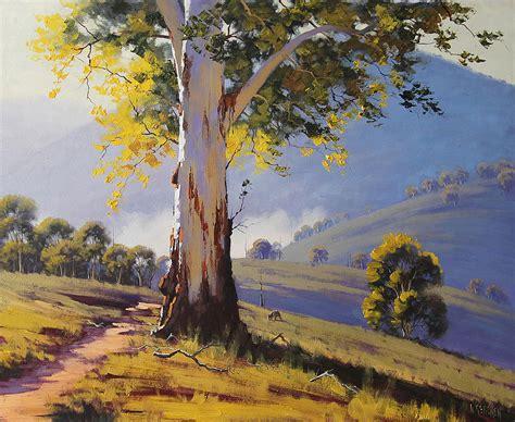 Landscape Paintings Australia Hilly Australian Landscape Painting By Graham Gercken