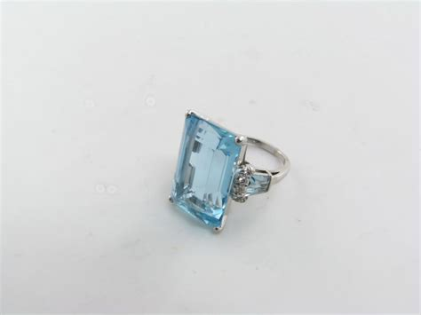 a fabulous emerald cut aquamarine and ring at 1stdibs