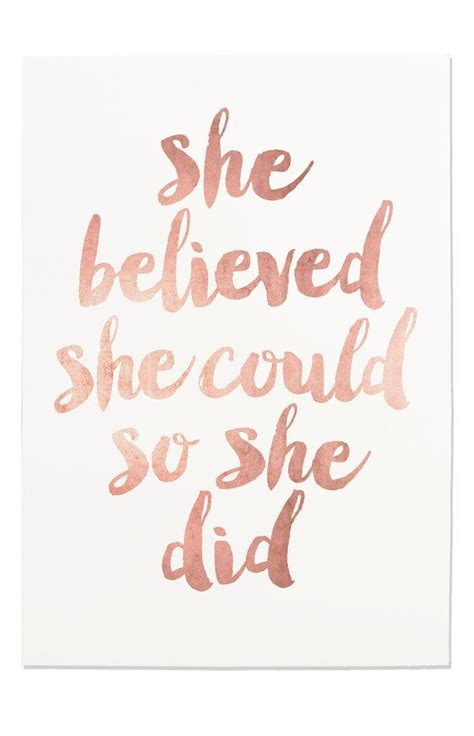printable a4 quotes inspirational print quot she believed she could so she did