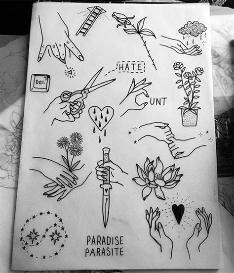 hand poke tattoo flash tattoo flash sheet metallic tattoos pinterest design
