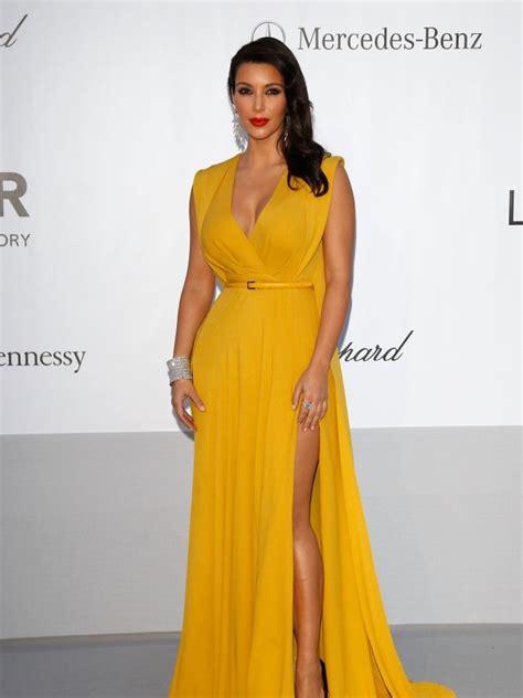 kim kardashian mustard dress kim kardashian in a fabulous mustard gown kardashian
