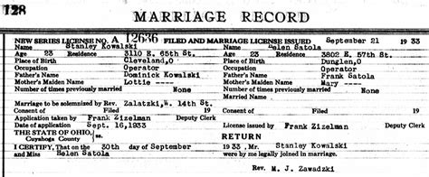 Cleveland Marriage Records Kowalski Family Documents The Spiraling Chains Kowalski Bellan Family Trees