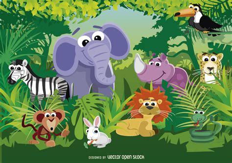 film animasi zoo animals of the jungle vector download