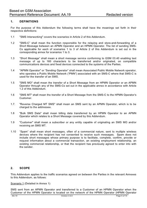 Addendums In Chronological Order Addendum To The International Gsm Roaming Agreement Sms