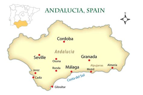 southern spain map andalusia spain cities map and guide