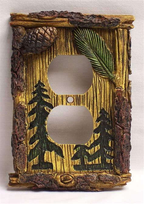 pine tree outlet platecover rustic home cabin decor